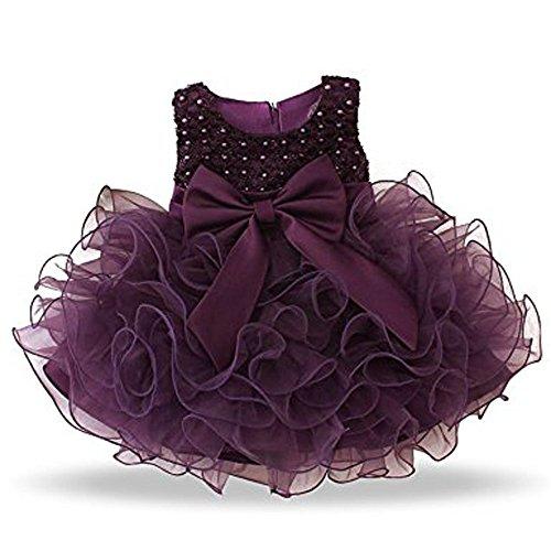 LN 0-24 Monat Baby Mädchen Blumen Hochzeit Bowknot Kommunion Party Kleid Multi Layer Tüll Kleid. (Tabelle Tüll Rock)