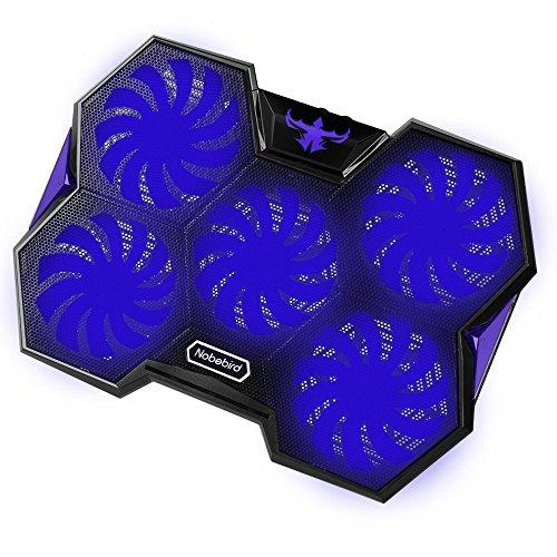 Refroidisseur pour Ordinateur Portable,Refroidisseur PC Portable Gaming avec 5 G randes Ventilateurs Silencieux à 1400 RPM et Rouges LED Lumières,Équipé de 2 Ports USB,2 Hauteur Réglable,Bleu