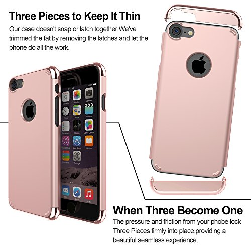 iPhone 7 cellulare, iPhone 7 Case, lontect [3 in 1] superficie antiscivolo perfettamente sottile e sottile cover rigida per Apple iPhone 7 Rose Gold