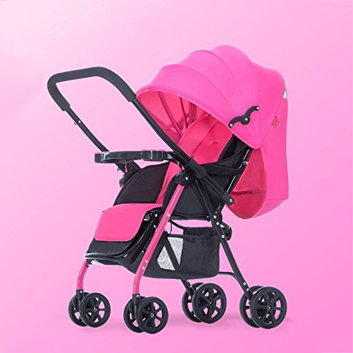 Carrozzina baby besrey passeggino 2 in 1 travel system infant buggy con ammortizzatori pieghevole, 67 × 30 cm,rosered