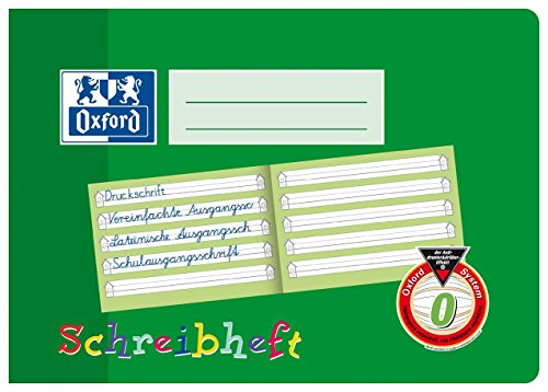 OXFORD 100050100 Schreibheft Schule 10er Pack A5 quer Lineatur 0 (1. Klasse) 16 Blatt - Schreiben lernen in der Grundschule und Förderschule Erste Oxford