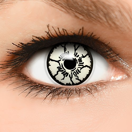 (Farbige Kontaktlinsen Geist in weiß schwarz + Kombilösung + Behälter - Top Linsenfinder Markenqualität, 1Paar (2 Stück))