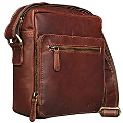 Idea Regalo - STILORD 'Nathan' Borsello da Uomo a tracolla in pelle Piccola borsa messenger in Cuoio a Spalla per Viaggi Escursioni, Colore:cognac marrone scuro
