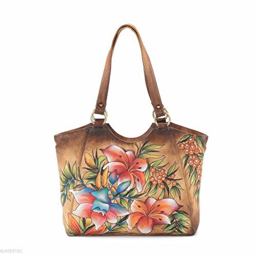 HYDESTYLE Picta Manu peint à la main Shopper Sac 26 x 32 x 10 LB20 Marron - Floral Berry