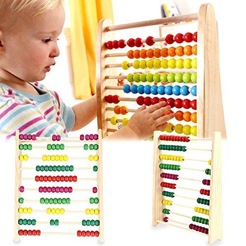 takestop® Abakus aus Holz bunte Kugeln für Zählrahmen lernen Mathematik Berechnungen Zahlen Schule Spiel Tutorial bildend