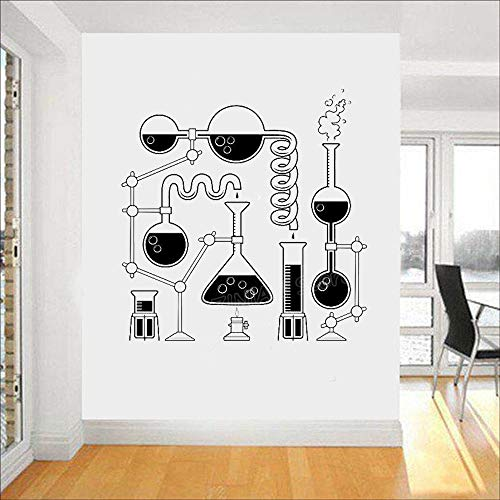 Science Beakers Wall Art Stickers per Camera da letto Rimovibile Funny Education Decalcomanie Scienziato Chimica Vinyl Decal Wallpaper a 56x57cm
