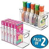 mDesign 2er-Set Küchen Organizer – praktische Aufbewahrungsbox mit Griffen – aus BPA-freiem Kunststoff – idealer Aufbewahrungskorb für Küche, Kühlschrank und Speisekammer – durchsichtig
