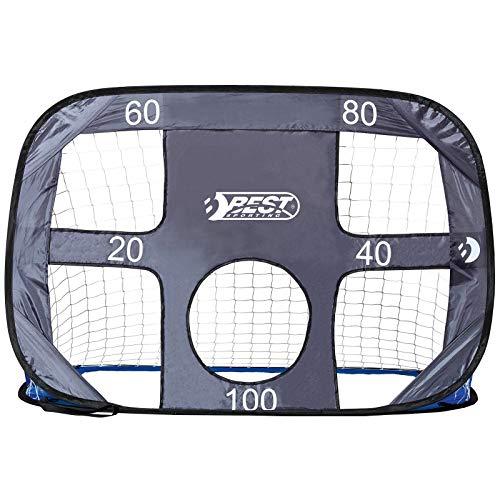 Best Sporting Set Deutschland Ball, Pumpe Pop up Tor 2 in 1 mit Tornetz und Torwand, Farbe Blau/Grau, Design 1 Fußballtor inkl