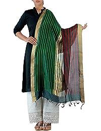 Unnati Silks Women Green-Cream Pure Pure Chanderi Sico Dupatta.