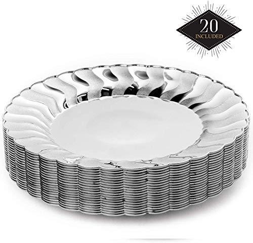 20 Premium Platos Desechables de Plástico Duro, Elegante Acabado Plateado, 22.5cm| Durable Lavable y Reutilizable| Vajilla Blanca y Plata| Bodas Fiestas Cumpleaños.