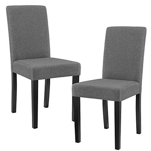 [en.casa]® Edler Esszimmerstuhl im 2er-Set - 90 x 42cm dunkelgrau Designer-Stühle