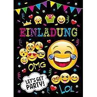 JuNa-Experten 12 Einladungskarten Kindergeburtstag Mädchen Jungen Jungs Geburtstagseinladungen Einladungen Geburtstag Kinder Umschlag Tüten Aufkleber Kartenset