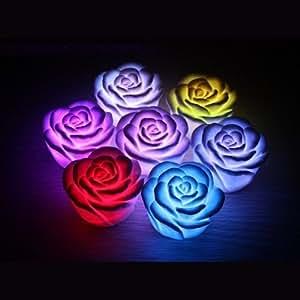 SODIAL(R) Candela di fiore rosa luce a LED di notte romantica 7 colori