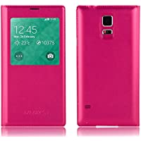 JAMMYLIZARD Smart View Lederhülle für Samsung Galaxy S5 | Schutzhülle Flip Case aus Leder Sichtfenster Ledertasche Handyhülle Cover mit S-View Funktion, Knallrosa