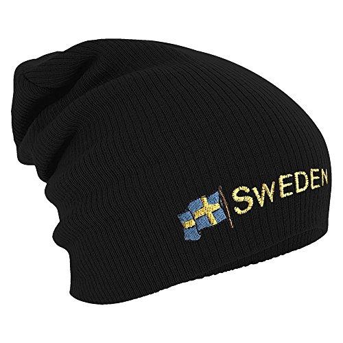 Fan-O-Menal Textilien Longbeanie Slouch-Beanie Mütze Schweden mit Fahne 54598 Farbe...