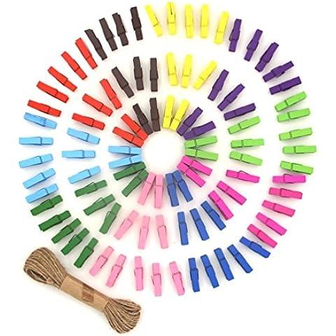 ColorMixs®Clips 100 Piezas Mini con color de madera natural Photo Paper clavija Pinza del arte con yute guita Inicio la decoración del festival