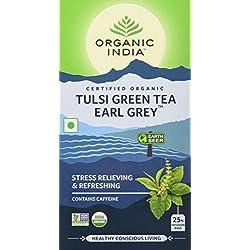 Organic India Tulsi Green, Tea Earl Grey, 25 Tea Bags