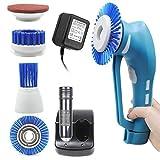 Dulcii Nettoyeur électrique sans fil portable avec 4 têtes de brosse pour salle de bains et cuisine