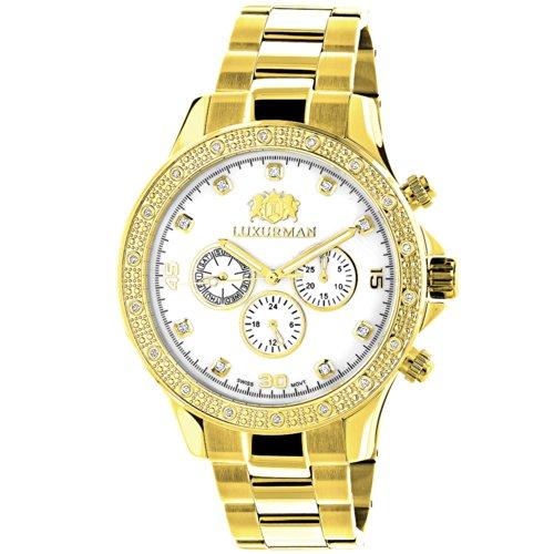 LUXURMAN diamante relojes de cuarzo swiss para hombre 0,2ct amarillo chapado en oro blanco fregona libertad w metal banda