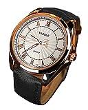 YaZhuoLun Herren-Armbanduhr,Legierung PU-Leder Wasserdicht Luminous Uhren Uhr,Rose Gold (Weiß-Schwarz)