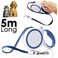Pet Dogs Puppies Retractable Lead Small Medium Dog Tape Leash Up to 50lbs / 20-23KG - Running, Exercise, Jogging, Cycling etc. (5 Metre / 16 Ft, White Blue)