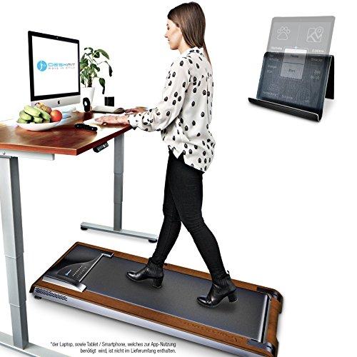 DESKFIT DFT200 Laufband für / unter Schreibtisch - fit und gesund im Büro & zu Hause. Bewegen und ergonomisches Arbeiten, keine Rückenschmerzen - mit praktischer Tablet-Halterung, Fernbedienung und App (Dunkelbraun)