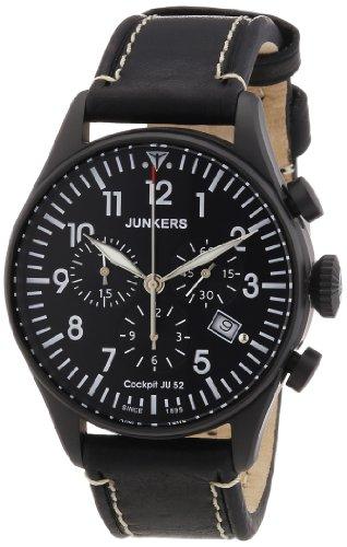 Junkers 6182-2 - Reloj cronógrafo de Cuarzo para Hombre con Correa de Piel, Color Negro