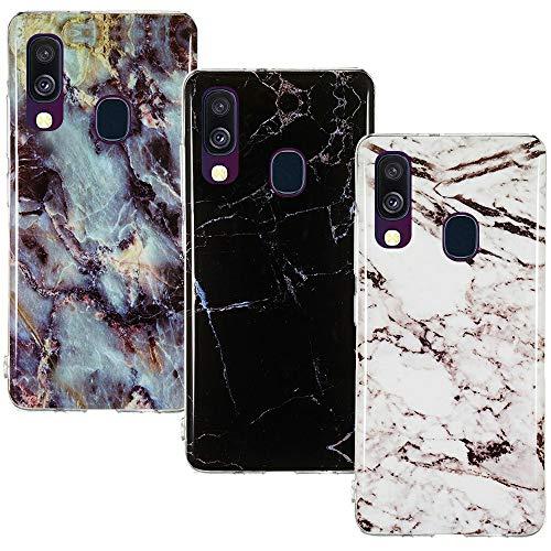 CLM-Tech Hülle 3X kompatibel mit Samsung Galaxy A40, TPU Silikon-Hülle Case Schutzhülle Handyhülle 3er Set, Marmor schwarz weiß Mehrfarbig