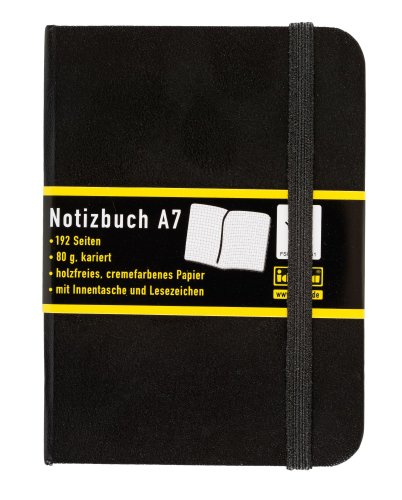 Idena 209283 - Notizbuch DIN A7, 192 Seiten, 80 g/m², kariert, schwarz