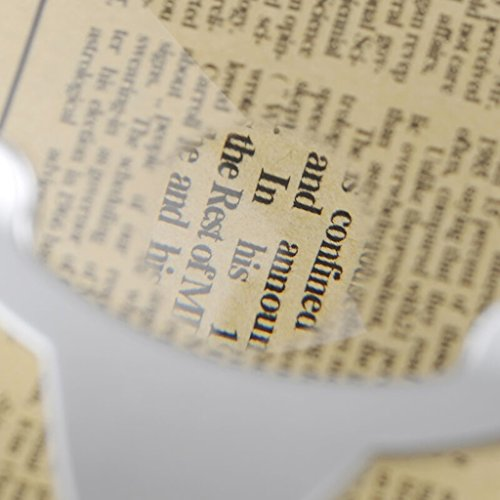 DFHHG® Lupa, lectura de mano lupa ABS acrílico Shell lentes 2 luces de LED de plata 270 * 130 * 26m fácil de cargar