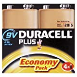 Duracell Plus MN1604 Alkaline 9 V Batteries - 4-Pack