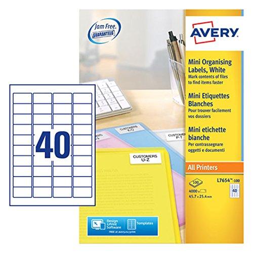 Avery 4000 Mini Etiquettes Autocollantes (40 par Feuille) - 45,7x25,4mm - Impression Laser - Blanc (L7654)