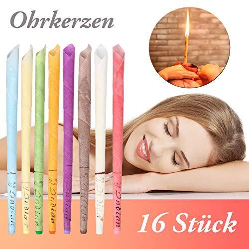 Ohrkerzen, Ohrenkerzen zur Reinigung buntes Duftstoff Organisch Bienenwachs Ohrenkerzen, Ohrenschmalzentferner natürliches Hohlkegel Kerzen mit 5*Schutzscheiben (16 Stück, 8 Farben) MEHRWEG