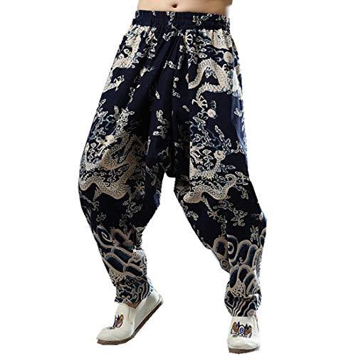 Pantalones Mens National Style Dragon Pant Impreso Harem Azul Simple Estilo Marino Baggy Pantalones Vintage Bloomers Primavera Verano (Color : Navy Blau, Size : M)