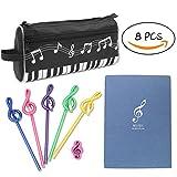 Gino Notes de Musique Set de Papeterie 8 pièces comprennent 1 Motif de Stylo de Piano Cas 1 Notebook 1 Gomme 5 Crayons Enfants étudier Cadeau Enfants