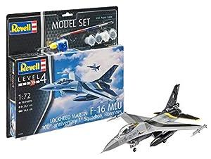 Revell Revell-F-16 Set F-16 MLU 100th Anniversary, en Kit Modelo con Base Accesorios, fácil Pegar y para pintarlas, Escala 1: 72 (63905), 20,7 cm de Largo