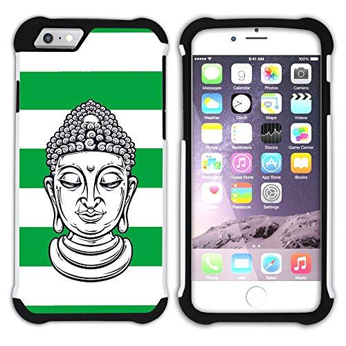 Graphic4You Buddha-Kopf Linien Muster (Wasserblau) Hart + Weiche Kratzfeste Hülle Case Schale Tasche Schutzhülle für Apple iPhone 6 / 6S Grün