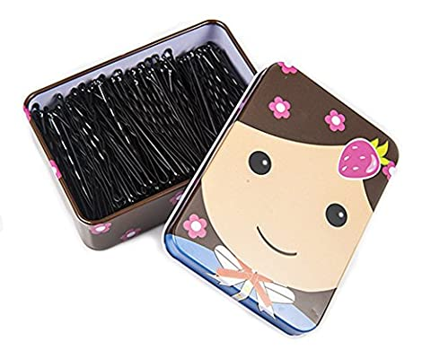 Trainingsunterlagen für schwarz Bobby Pins mit einem Metall Box Haar Pins Bun Pins Haar Folien Griffe Haar Zubehör Ideal für Brötchen Fülle und mehr