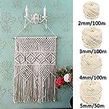 Cuerda en macramé algodón Cordons Cordel 100% Natural Beige algodón cordón torsadé Artisan DIY Artesanía, algodón (4mm/100m)