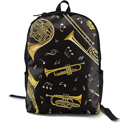 High School Outdoors Fahrradrucksack Daypack Strapazierfähiger Polyester-Mehrzweck-Diebstahlschutz Daypack-Umhängetasche mit großer Kapazität Trompete Posaune Waldhorn