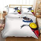 BH-JJSMGS Dreiteiliges Bett der Tierserie, bedruckter Bettbezug und Kissenbezug, Motorradhund 200 * 200