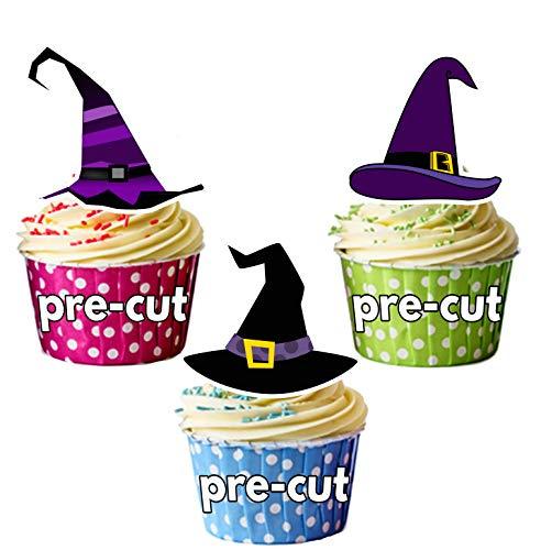 Vorgeschnittene Halloween Hexenhüte - Essbare Cupcake Topper / -
