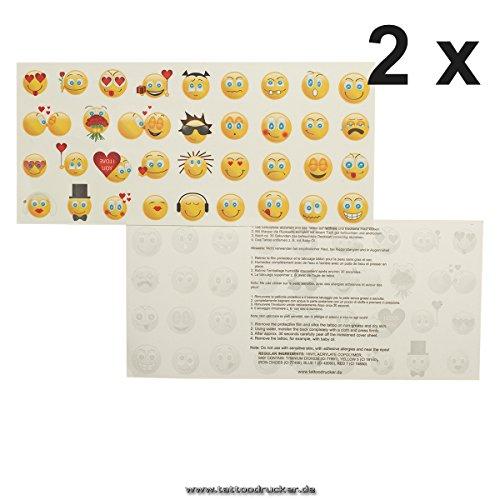 2 x Smiley Tattoo Karte mit je 35 Emoji - 70 Bunte Emojicon Temporary Haut Tattoos ()