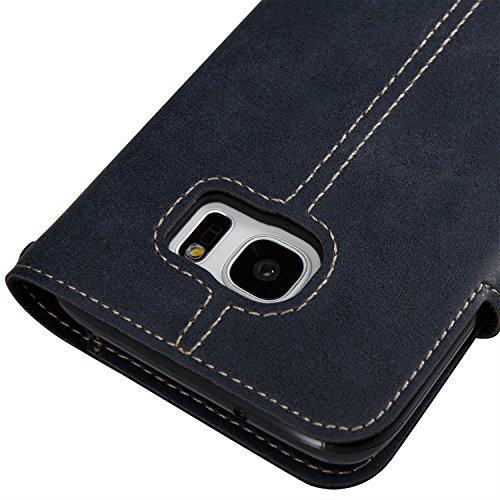 Hülle für Samsung Galaxy S7 Edge, Tasche für Samsung Galaxy S7 Edge, Case Cover für Samsung Galaxy S7 Edge, ISAKEN Farbig Blank Muster Folio PU Leder Flip Cover Brieftasche Geldbörse Wallet Case Leder Knopfe Linie Dunkelblau