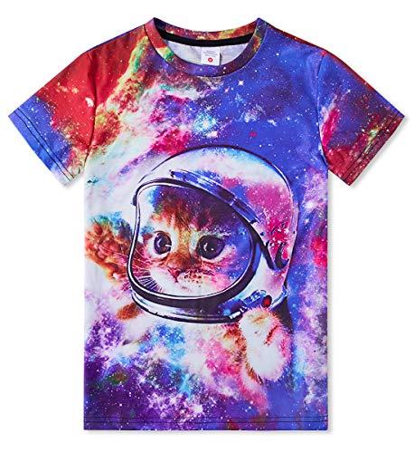 RAISEVERN Kinder Jungen Mädchen T Shirts Sommer 3D Katze Muster Gedruckt Kurzarm Tier Graphic T Tops 130 - Mädchen Graphic T-shirt