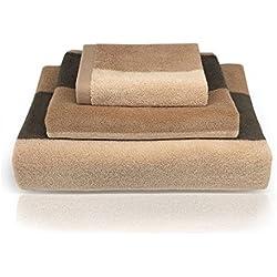 """YNester - Juego de 3 toallas de algodón 100 % de rayas naturales ecológicas de lujo, super suave peinado de alta calidad, toallas de baño absorbentes, toallas de mano, toallas de baño y toallas de baño para hotel Spa baño, 100% algodón, marrón, 13""""x13"""" / 13""""x30"""" / 28""""x54"""""""