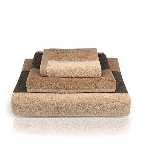 Ynester 3 pezzi set asciugamani in 100% cotone, naturale eco luxury stripe super soft pettinato di alta qualità, assorbente asciugamano, telo da bagno e asciugamano per hotel spa bagno, brown