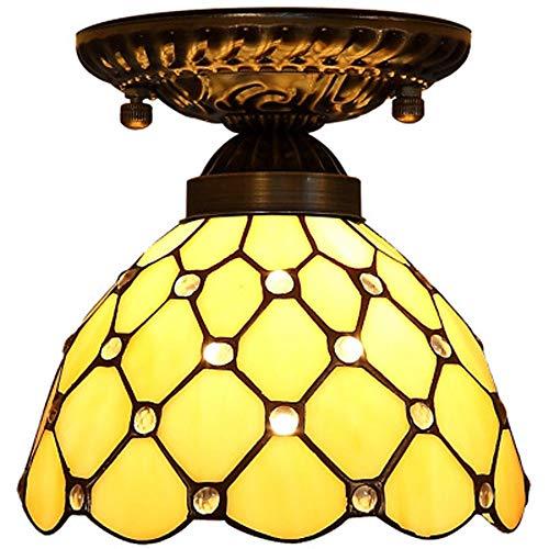 XYQS Tiffany Style European Semi Flush Deckenleuchte Moderne Einfachheit Farbe Glas Handgefertigter Lampenschirm Geeignet für Wohnzimmer Schlafzimmer Restaurant Bar Gang Korridor Coffee Shop