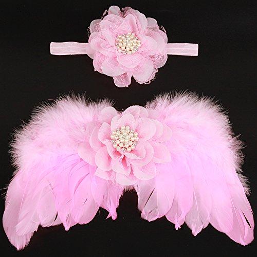 UGUAX Baby Newborn Fotografie Requisiten Feder Engel Flügel und Strass Stirnband Set Foto Requisiten Kostüm, Rose, - Flügel Set Kostüm Kit