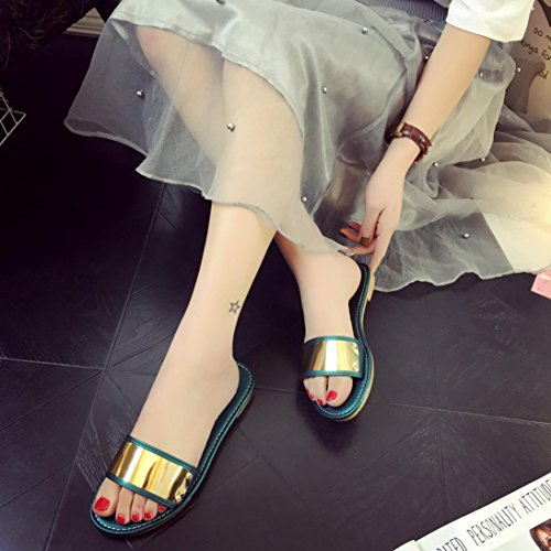 Amlaiworld Donna moda estate Flat infradito sandali mocassini Boemia scarpe verde
